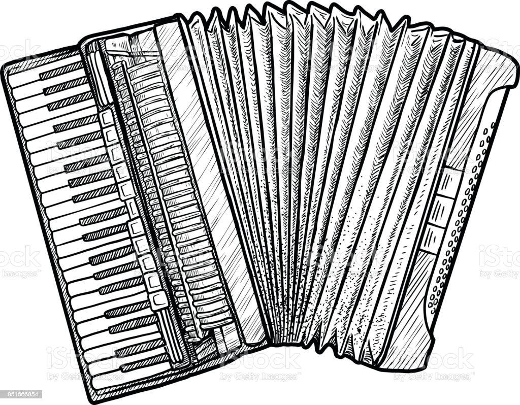 Dessin Accordéon accordéon illustration dessin gravure encre dessin au trait vecteur