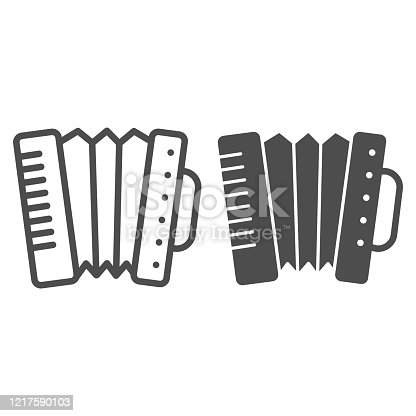 istock Accordion line and solid icon. Folkloric accordion instrument outline style pictogram on white background. Patrick day and music for mobile concept and web design. Vector graphics. 1217590103