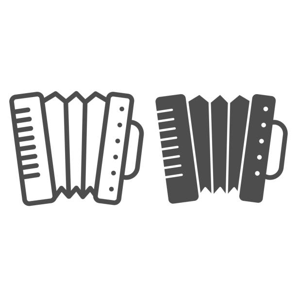 Accordion line and solid icon. Folkloric accordion instrument outline style pictogram on white background. Patrick day and music for mobile concept and web design. Vector graphics. Accordion line and solid icon. Folkloric accordion instrument outline style pictogram on white background. Patrick day and music for mobile concept and web design. Vector graphics holiday and seasonal icons stock illustrations