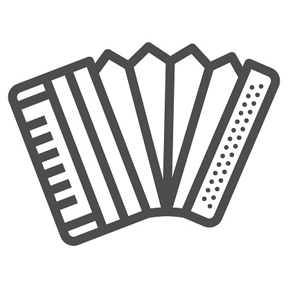 Accordion line icon, Oktoberfest concept, Musical instrument silhouette sign on white background, harmonica icon in outline style for mobile concept and web design. Vector graphics.