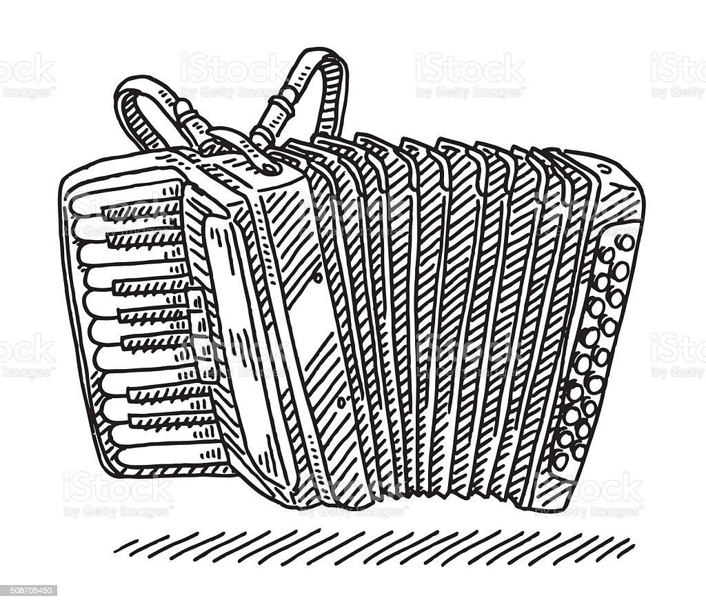 Acordeón instrumento Musical dibujo - ilustración de arte vectorial