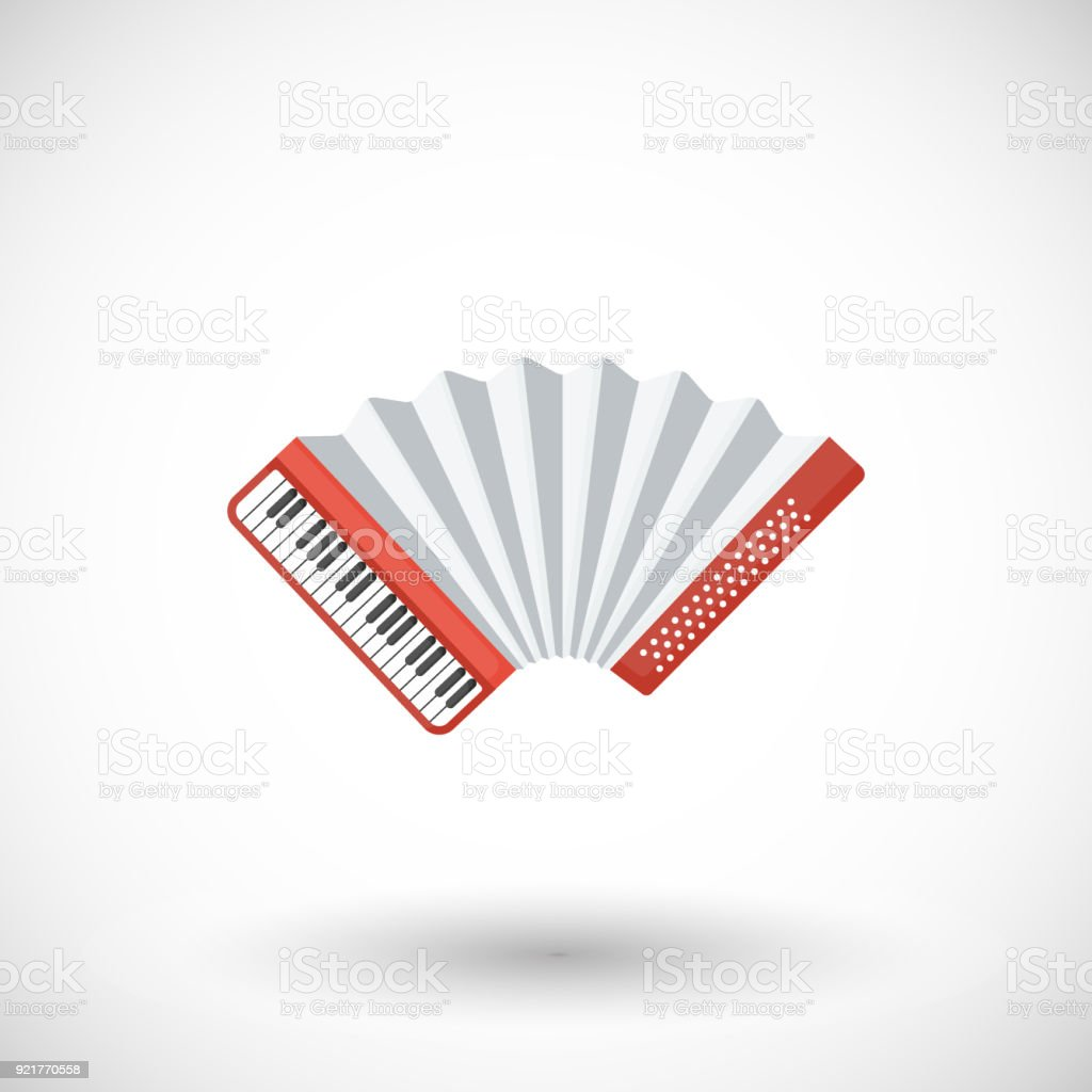 Plano icono de instrumento musical acordeón vector - ilustración de arte vectorial