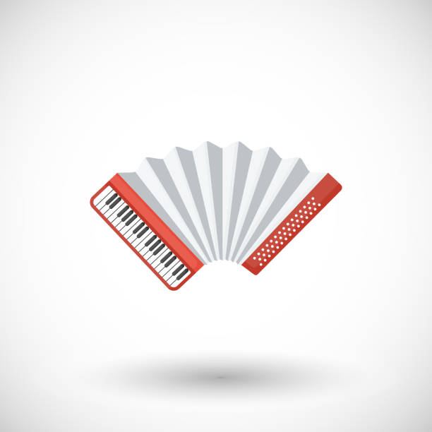 Akkordeon Musikinstrument Vektor flache icon – Vektorgrafik