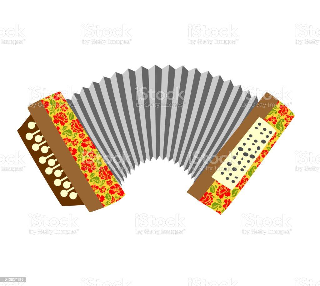 Akkordeon. Musical instrument weißem Hintergrund. Vektor illustra – Vektorgrafik
