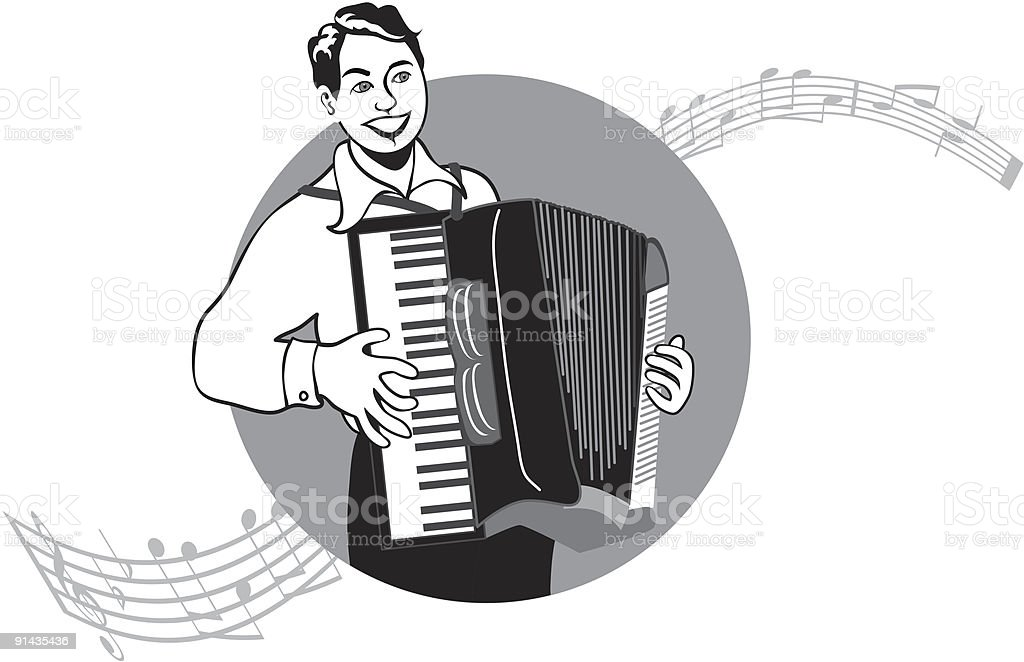 Accordion Player royalty-free stock vector art