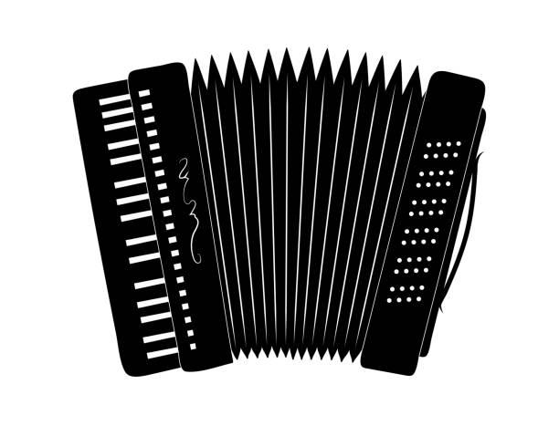 Akkordeon Silhouette, Musikinstrument, – Vektorgrafik