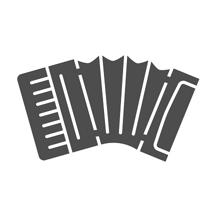 Accordion solid icon, Music instruments concept, Classical bayan sign on white background, harmonic icon in glyph style for mobile concept and web design. Vector graphics.