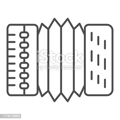 istock Accordion thin line icon. Harmonica vector illustration isolated on white. Musical instrument outline style design, designed for web and app. Eps 10. 1178128902