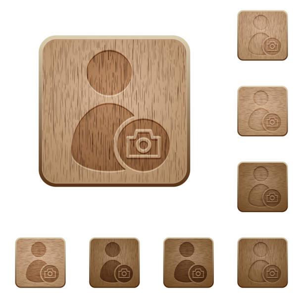 illustrations, cliparts, dessins animés et icônes de compte profil photo boutons en bois - camera sculpture