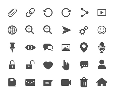 Account web icons. Ui elements. Account vector icons for web, mobile and ui design