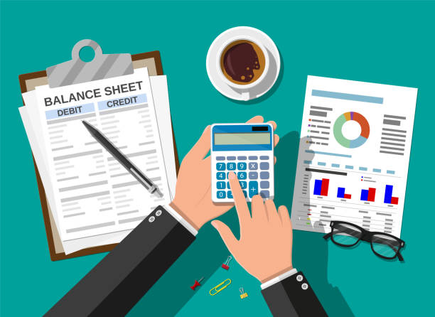 Accountant checks money balance Accountant with report and a calculator checks money balance. Financial reports statement and documents. Accounting, bookkeeping, audit debit and credit calculations. Vector illustration in flat style cash flow stock illustrations