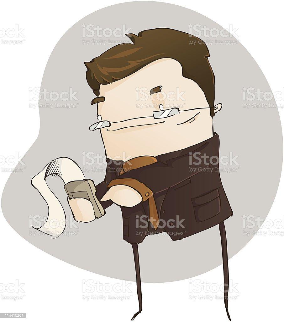 Accountant on a Calculator vector art illustration