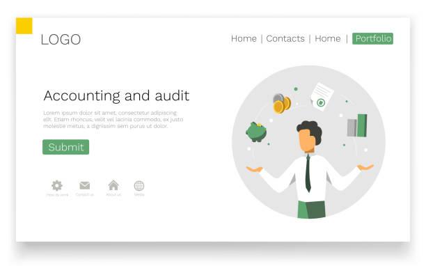 stockillustraties, clipart, cartoons en iconen met boekhouding en controle web design concept. modern kleurrijk ontwerp. landing paginasjabloon. vectorillustratie. - financieel adviseur