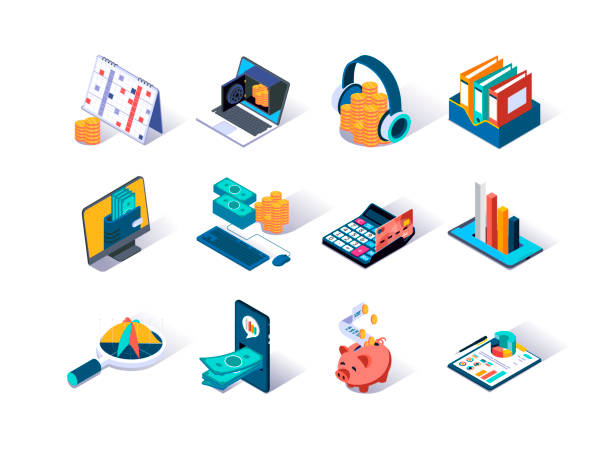 Accounting and auditing isometric icons set. Online analytics, payment and money transactions pictogram. vector art illustration