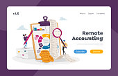 istock Accounting and Bookkeeping Landing Page Template. Tiny Accountant Characters at Huge Clip Board Filling Bookkeeping Data 1279896076