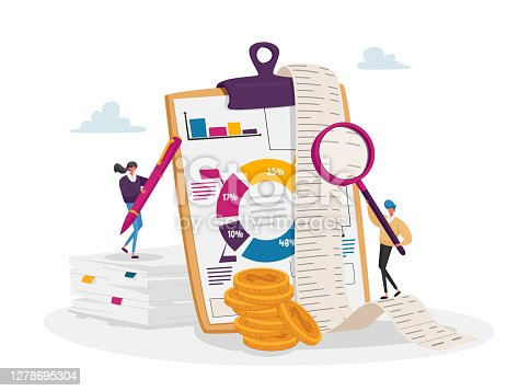 istock Accounting and Bookkeeping. Tiny Accountant Characters at Huge Clip Board Filling Bookkeeping Data, Graphs and Charts 1278695304