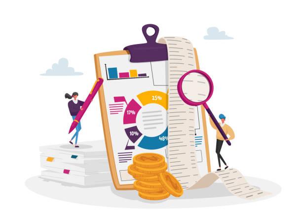akuntansi dan pembukuan. karakter akuntan kecil di papan klip besar mengisi data pembukuan, grafik dan bagan - cpa vs tax advisor ilustrasi stok