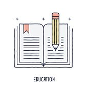 Hand drawn line icon booking and pencil symbol for accounting and education compositions. Modern style vector illustration concept.