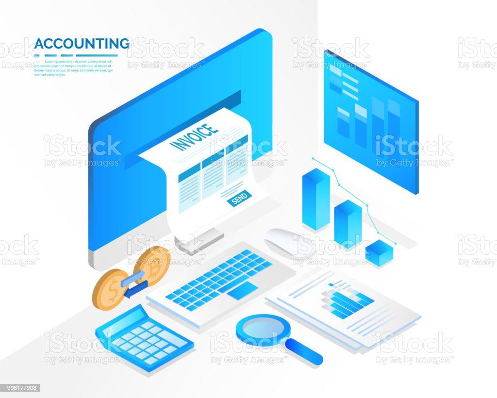 sistema contable y fiscal, concepto de isométrico - ilustración de arte vectorial
