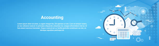 Comptabilité Audit Business Horizontal Web Banner avec espace copie - Illustration vectorielle