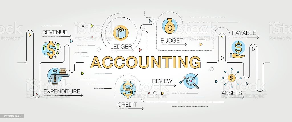 Accounting banner and icons - ilustración de arte vectorial