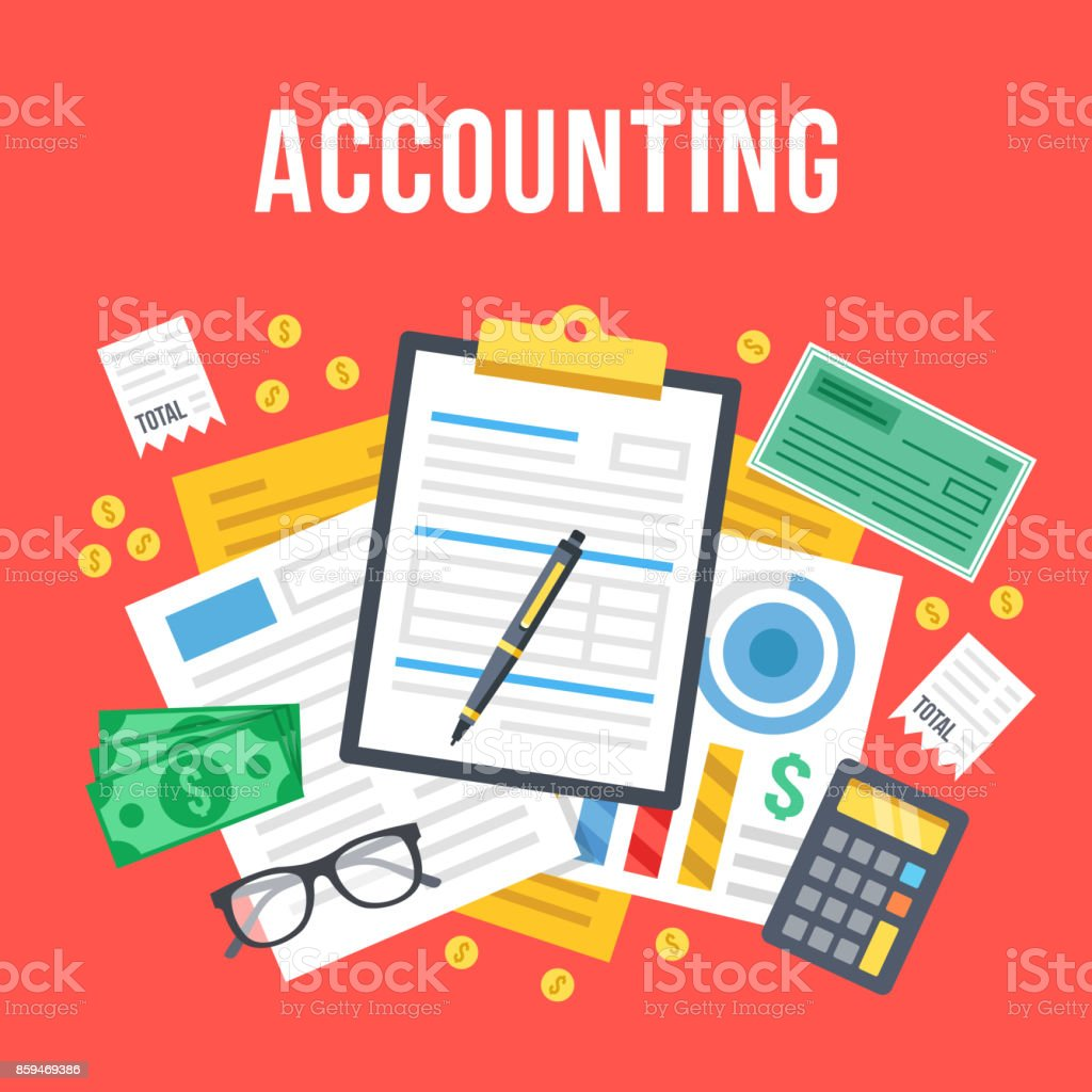 Accounting, bookkeeping, check financial statements, corporate paperwork concept. Top view. Modern flat design graphic. Creative vector illustration