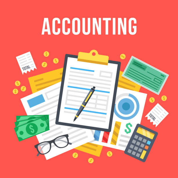Accounting, bookkeeping, check financial statements, corporate paperwork concept. Top view. Modern flat design graphic. Creative vector illustration Accounting, bookkeeping, check financial statements, corporate paperwork concept. Top view. Modern flat design graphic for websites, web banners, etc. Red background. Creative vector illustration tax form stock illustrations