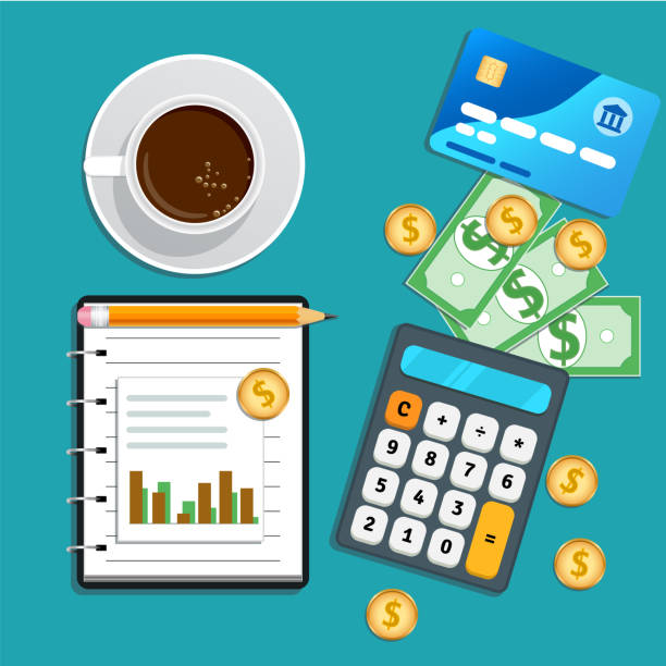 Accounting, bookkeeping concept. Financial audit, risk management, data analysis, marketing research. Table with credit card, calculator, cash coins, cup of coffee, pencil and notepad with chart Accounting, bookkeeping concept. Financial audit, risk management, data analysis, marketing research. Table with credit card, calculator, cash coins, cup of coffee, pencil and notepad with chart budget stock illustrations