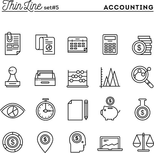 Accounting, business statistics, time, money management and more Accounting, business statistics, time, money management and more, thin line icons set, vector illustration stability stock illustrations