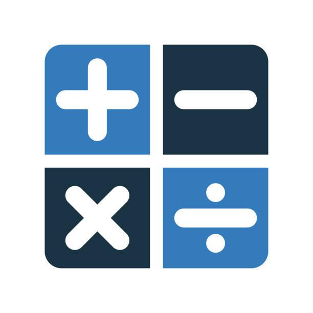 illustrazioni stock, clip art, cartoni animati e icone di tendenza di contabilità, icona del segno di calcolo. vettore glifo isolato su sfondo bianco - segno meno