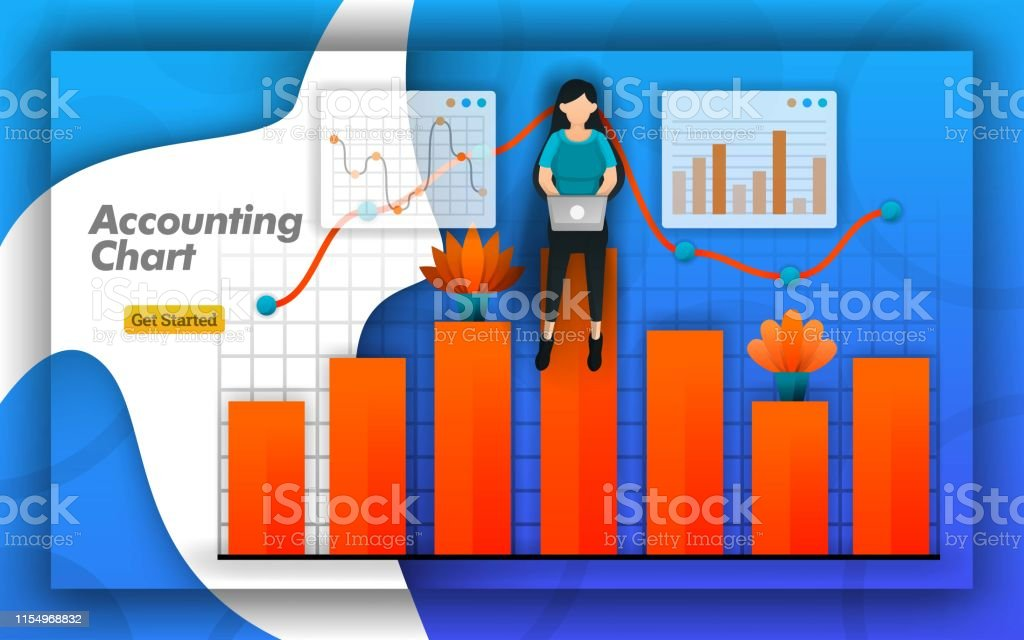 Accounting Chart Design with bar charts and line charts for all...