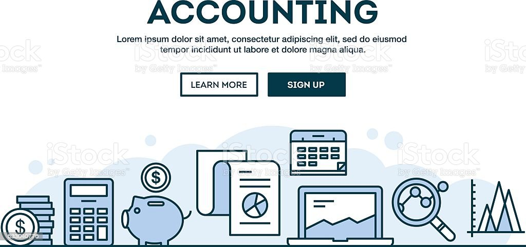 Accounting, concept header, flat design thin line style vector art illustration