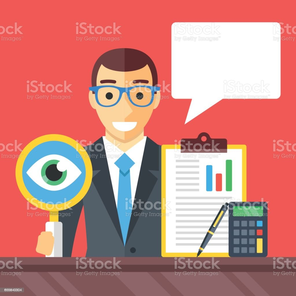 Accounting, financial adviser, consulting, investment advisor, auditor concepts. Man with magnifying glass, clipboard, pen, calculator and speech bubble. Modern flat design vector illustration vector art illustration