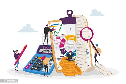 istock Accounting, Financial, Banking Data. Tiny Accountant Characters around of Huge Clip Board Filling Bookkeeping Charts 1278695302