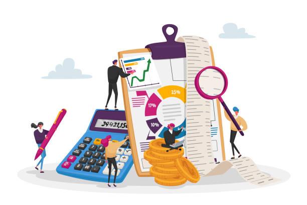 ilustrações, clipart, desenhos animados e ícones de dados contábeis, financeiros, bancários. personagens de contadores minúsculos em torno de enormes gráficos de contabilidade de preenchimento de placa de clipe - empréstimo