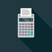 A flat design styled business icon with a long side shadow. Color swatches are global so it's easy to edit and change the colors.