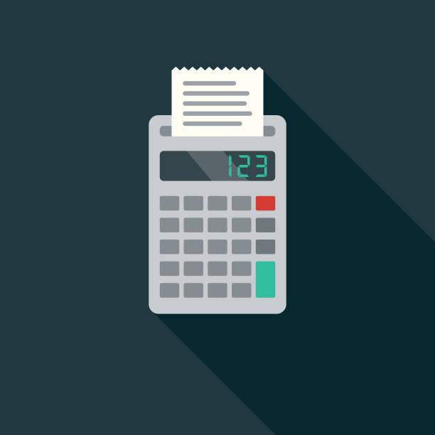 illustrazioni stock, clip art, cartoni animati e icone di tendenza di accounting flat design business icon with side shadow - calcolatrice