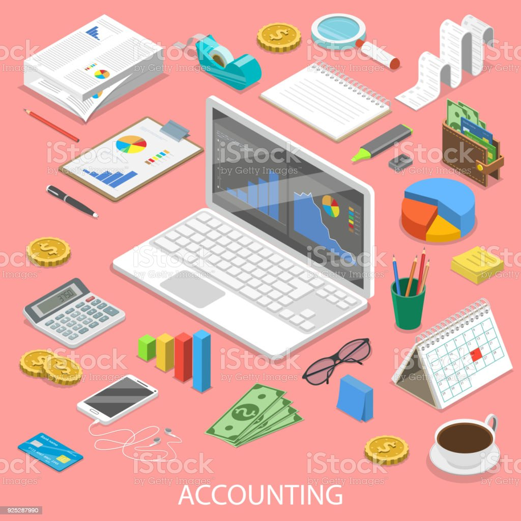 Accounting flat isometric vector concept. vector art illustration