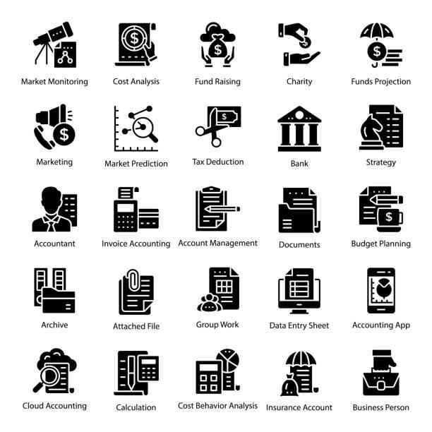 ilustraciones, imágenes clip art, dibujos animados e iconos de stock de conjunto de iconos de contabilidad glifo - gerente de cuentas