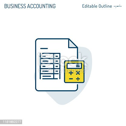 istock Accounting Icon, Spreadsheet icon, Revenue, Banking, Calculator, Business performance figures, Procurement expense, Income tax, finance market, Payment icon, invoice, Editable stroke 1151852277