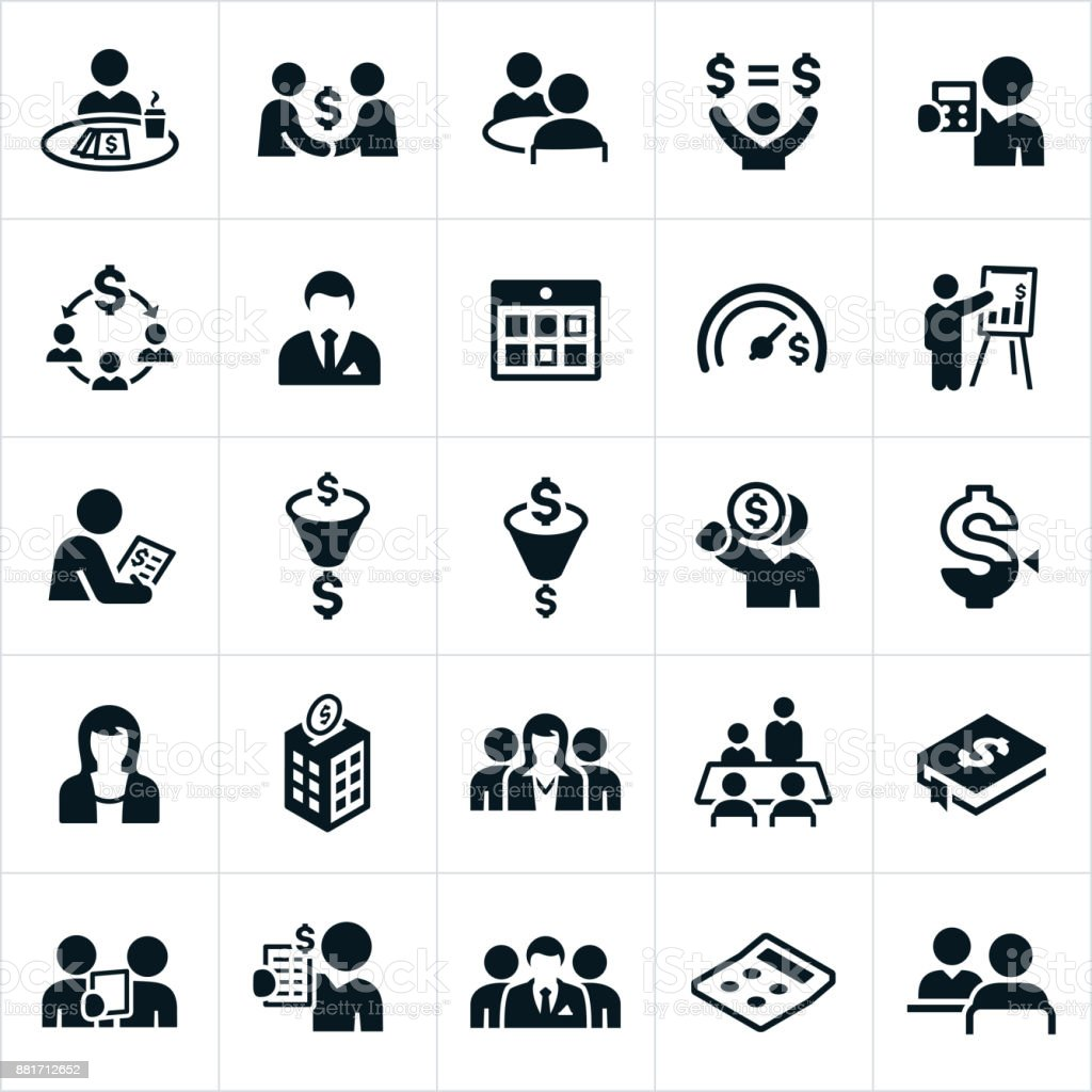 Accounting Icons vector art illustration