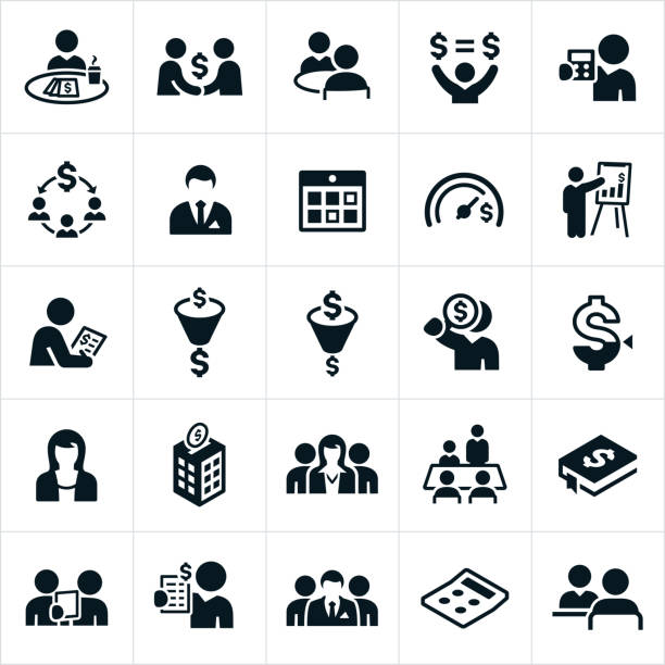Accounting Icons A set of accounting icons. The icons include accountants, finances and accountants working is different accounting settings and responsibilities. budget symbols stock illustrations