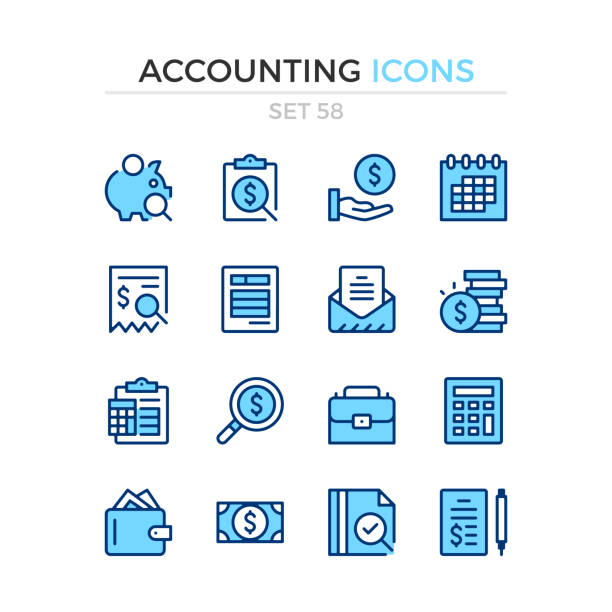 Accounting icons. Vector line icons set. Premium quality. Simple thin line design. Modern outline symbols collection, pictograms. Accounting icons. Vector line icons set. Premium quality. Simple thin line design. Modern outline symbols collection, pictograms. blue icons stock illustrations