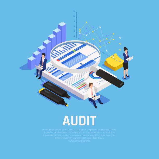 illustrazioni stock, clip art, cartoni animati e icone di tendenza di composizione isometrica contabile - ispezione contabile