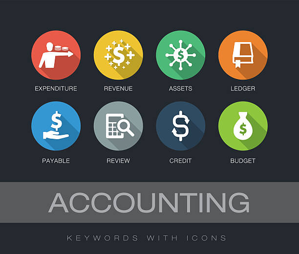 Accounting keywords with icons - Illustration vectorielle