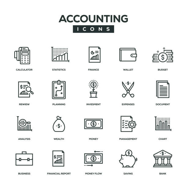 Accounting Line Icon Set Accounting Line Icon Set accountancy stock illustrations