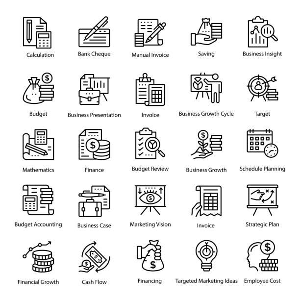illustrations, cliparts, dessins animés et icônes de comptabilité ligne icons set - carré composition