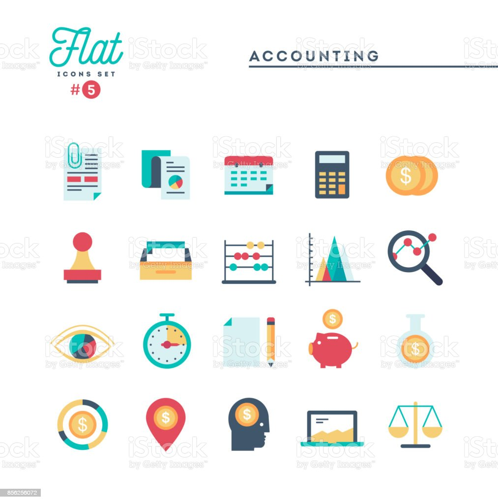 Accounting, paperwork, statistics and more, thin line icons set vector art illustration