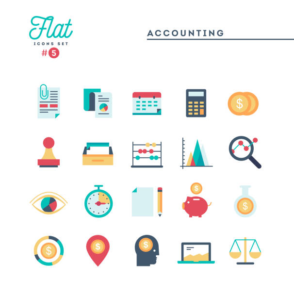 Accounting, paperwork, statistics and more, thin line icons set Accounting, paperwork, statistics and more, thin line icons set, vector illustration accountancy stock illustrations