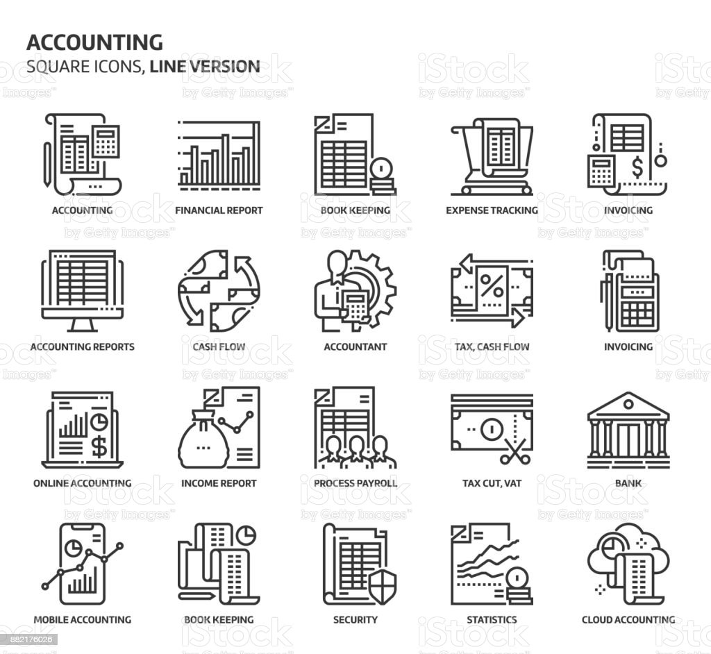 Accounting, square icon set vector art illustration